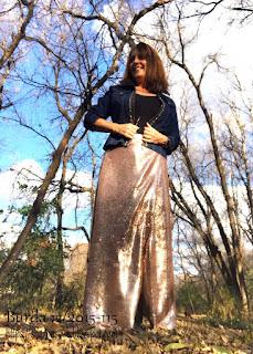 Burda 12 2015 #115 sequin maxi skirt worn by sharon sews
