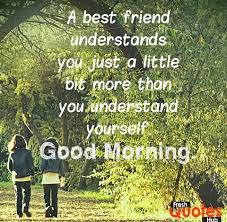 Good Morning Quotes For Best Friend: a best friend understands you just a little  bit more than you understand yourself.