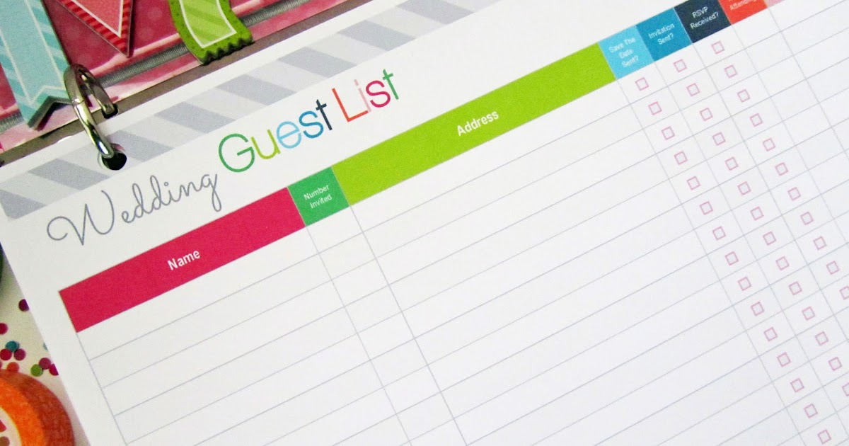 Clean Life and Home: Freebie Friday: Printable Wedding Guest List ...