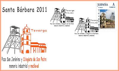 Sobre con matasellos Homenaje al Pozo San Jerónimo y a la Colegiata de San Pedro de Teverga, Grucomi 2011