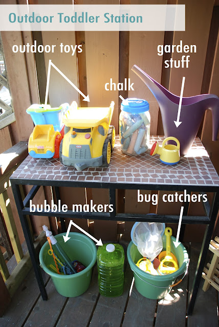 outdoor toddler station, outdoor toddler toys, outdoor toy organization