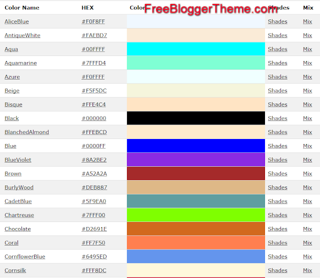 Image-html color codes