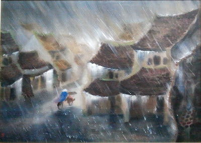 Painting depicting lovely rain on a Vietnamese Village with man on bike