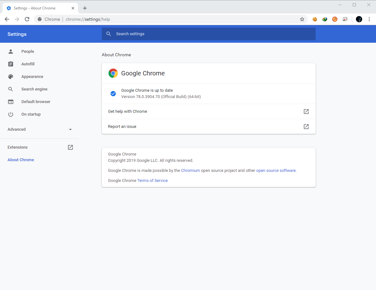 Google Chrome Browser 78.0.3904.70