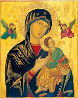 Picture of the Mother of Perpetual Help:   Salve Mater, The Mother of our Lord: Virgin Mary, the Mother of our God.  Eyes so tender that turn to all our cares,  Heart so ready to run to all our prayers. O Maria! Mary, blessed one, To us you always run: We are to you As Christ, your only Son: Perpetual Help, You're with us in our tears:  We place our hands In yours with all our fears.  O Maria! Sister of all flesh, So human with us all, Disciples too, We're gathered by our call; Perpetual Help You are to us indeed: We'll watch with you For all who are in need. O Maria!  Help Perpetual, An Icon of our race, With you we stand, All filled with God's own grace:  Our Sister Earth, We'll cherish, will not harm, And hold the world Of peoples in our arms: O Maria!