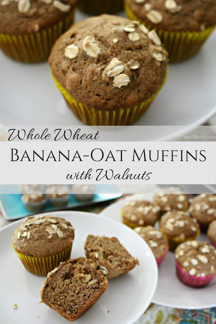 Healthy, whole wheat banana muffins with oats and walnuts, sweetened only with maple syrup