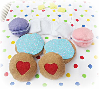image felt food cookies jam iced frosting biscuit macarons teabags