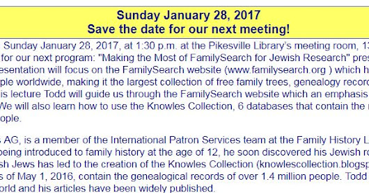 W. Todd Knowles speaking at Jewish Genealogy Society of Maryland 28 Jan 2018