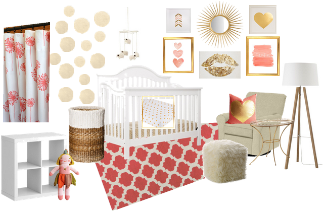 Coral, Gold & White Nursery Inspiration Board