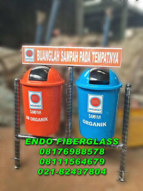 Tempat sampah fiberglass 2in1