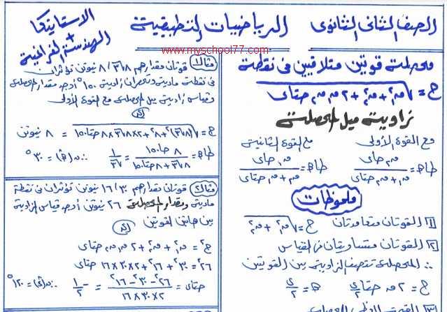 مذكرة مراجعة ليلة الامتحان بالاجابات فى الرياضيات التطبقية للصف الثانى الثانوى ترم اول 2020 أ/ سعد حجازى