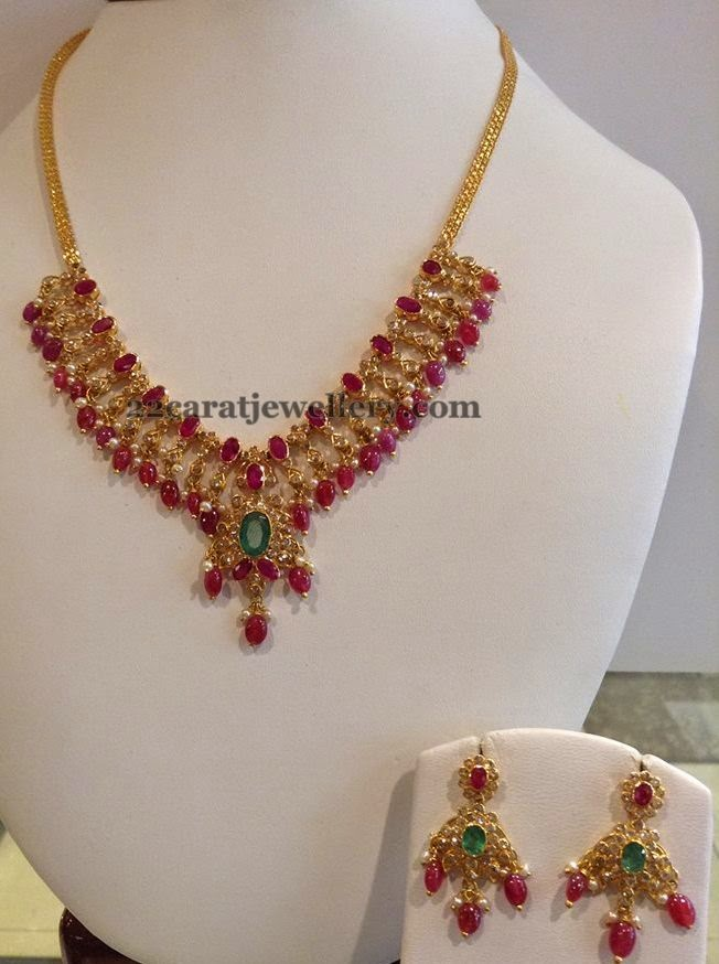 Ruby Drops Necklace 29gms Jewellery Designs