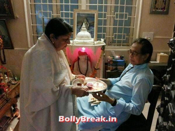 Lata Mangeshkar with her brother Hridaynath Mangeshkar, Bollywood's Raksha Bandhan Pics - 2014