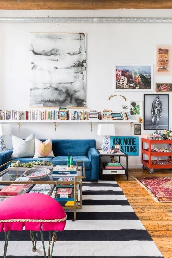 black and white with color eclectic living room