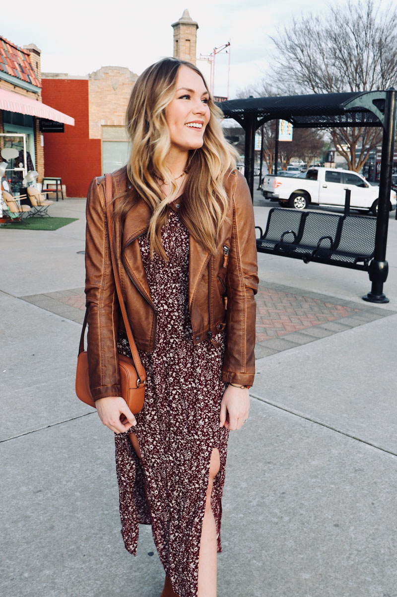 floral dress and moto jacket