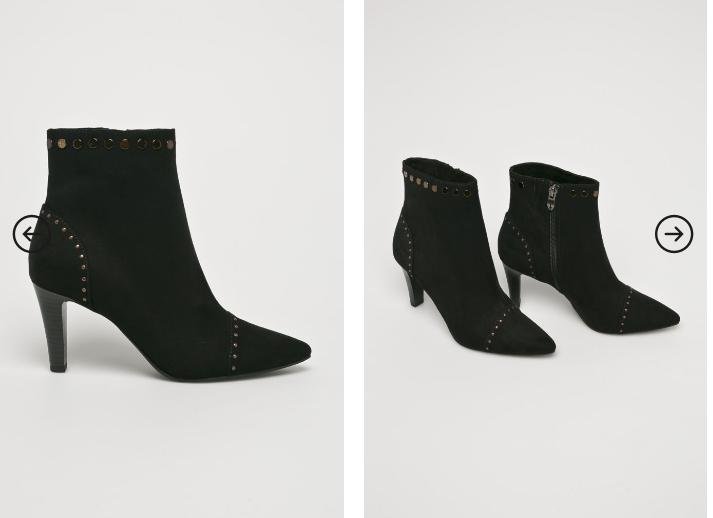 Botine elegante negre cu toc mediu de ocazii piele intoarsa frumoase ieftine