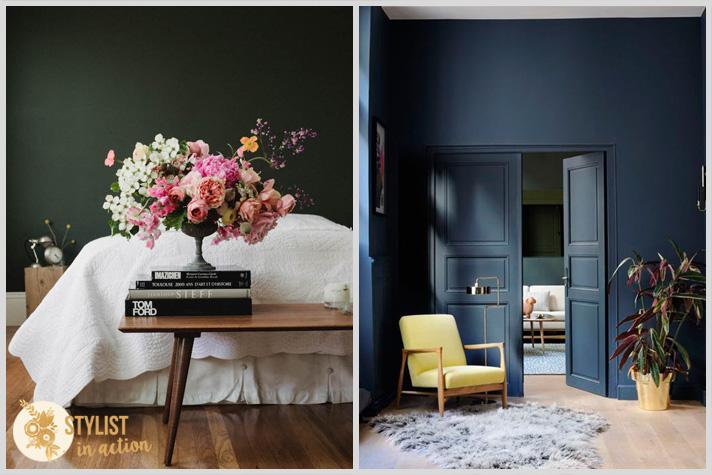 Color en las paredes. Tonos oscuros con personalidad y glamour. Interiores soñados