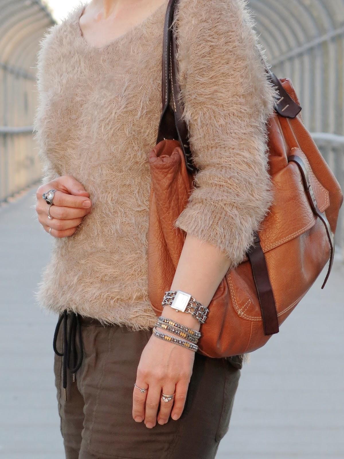 fuzzy sweater and cognac satchel