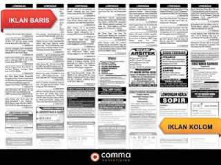 contoh iklan baris dan iklan kolom koran kedaulatan rakyat
