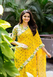 Keerthy Suresh in Yellow Saree with Cute and Awesome Lovely Smile for Mahanati Promotions
