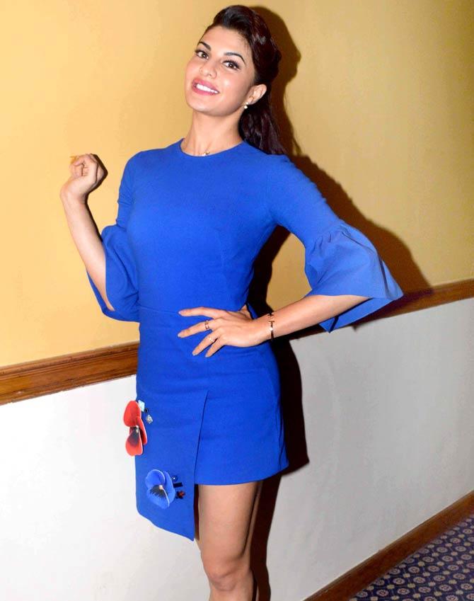 Jacqueline Fernandez Looks Hot In Blue Mini Dress