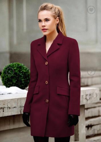Palton stofa Bella Negru de iarna claduros cu lana pentru iarna