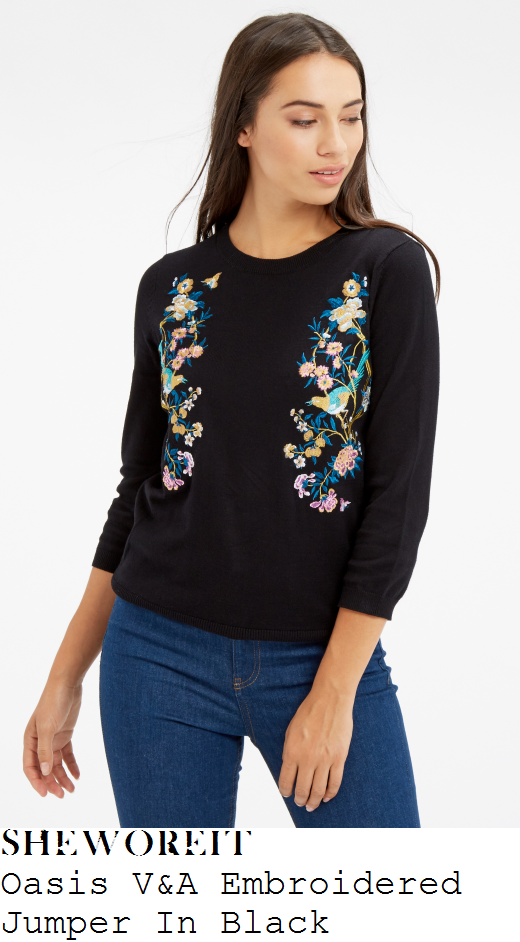 lydia-bright-oasis-v-and-a-black-blue-pink-and-multicoloured-placement-bird-floral-branch-embroidery-detail-three-quarter-sleeve-tie-back-jumper