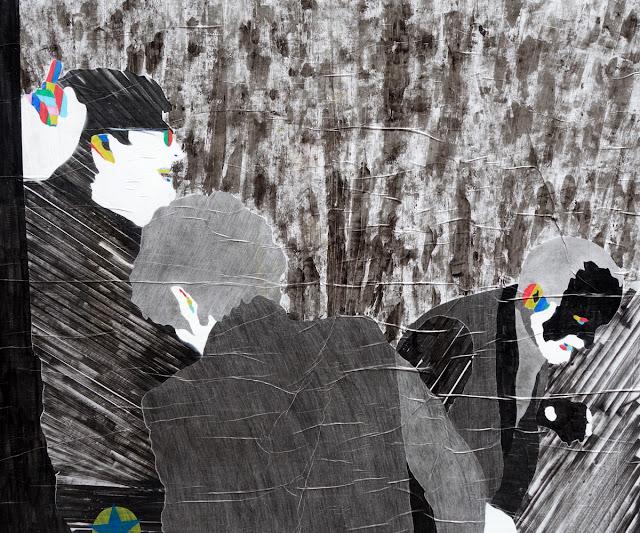 """Affichage """"sauvage"""" sur une vitrine rue des Francs-Bourgeois - Juin 2015 - Photo Erwan Corre"""
