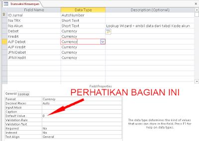 Desain tabel transaksi keuangan
