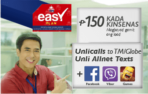 TM Easy Plan 150 : Unli Calls to Globe/TM, Unli AllNet Texts + Free FB
