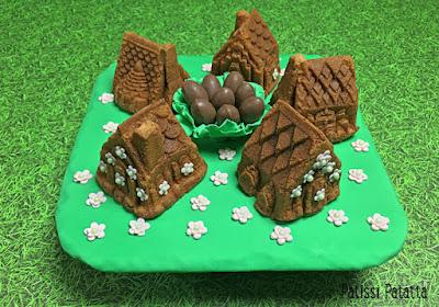 gâteaux village, gâteaux chalets, chalets cake, cake design, pâte à sucre, oeufs en chocolat, l'histoire du village des oeufs en chocolat, gumpast, dessert de Pâques, patissi-patatta