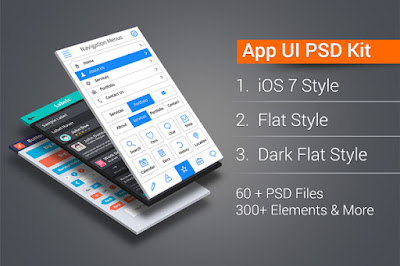 App UI Kit Pro: IOS7, Flat, Dark Flat 300+ Elements In 60+ PSDs, Icons & More