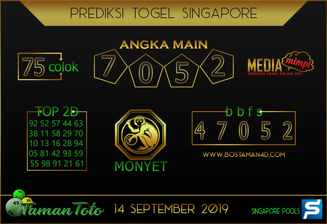 Prediksi Togel SINGAPORE TAMAN TOTO 14 SEPTEMBER 2019