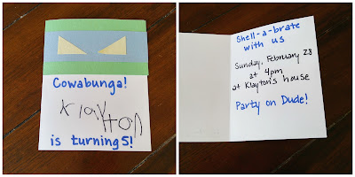Homemade Ninja Turtle Birthday Invitation