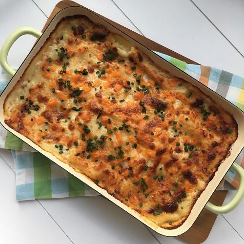 Kohlrabi-Möhren-Lasagne mit Ziegenfrischkäse-Béchamel