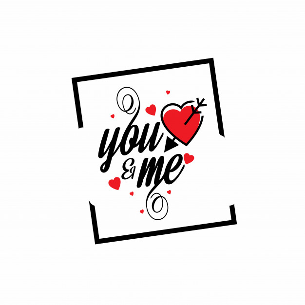 You and me frame with white background Free Vector