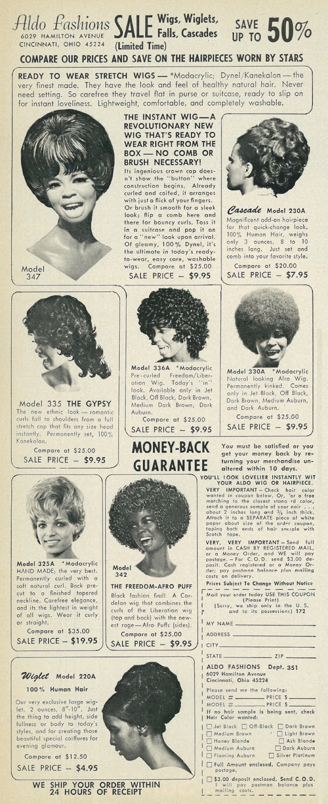 19 Vintage Ads for Fashion Wigs and Hairpieces From the 1960s and 70s  vintage everyday