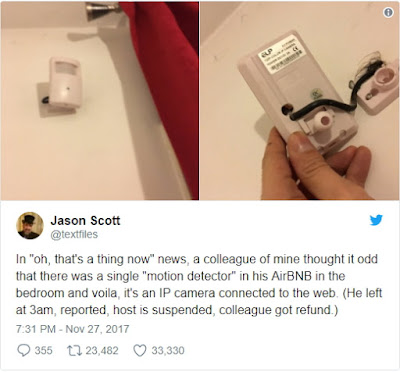 People keep finding hidden cameras in their Airbnbs