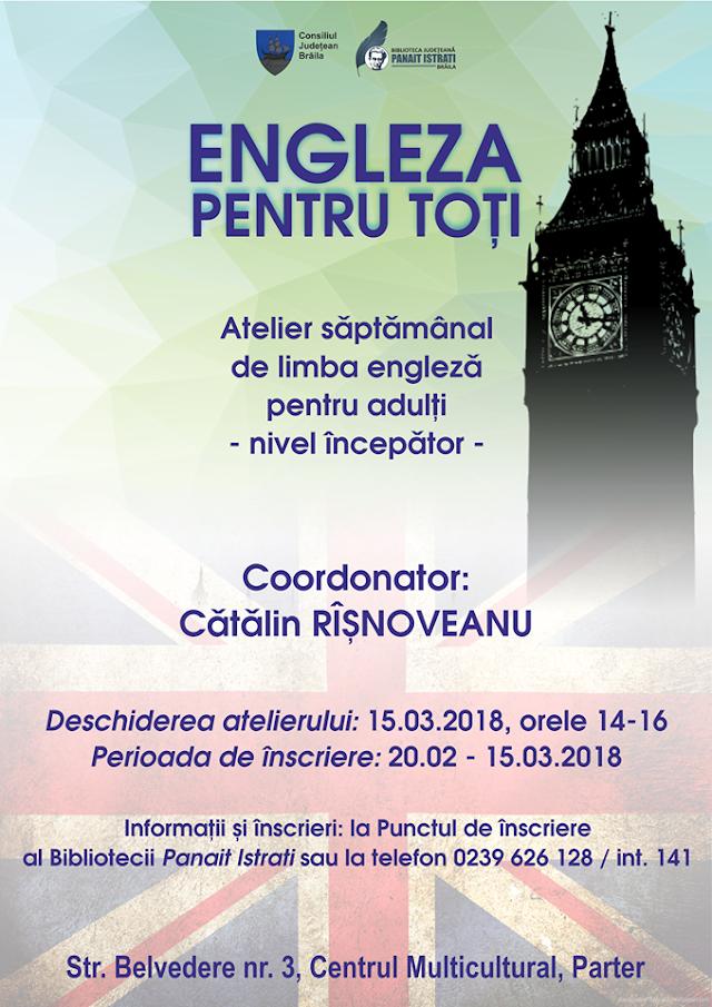 Curs gratuit de limba engleză pentru adulți la Biblioteca Judeteana Panait Istrati