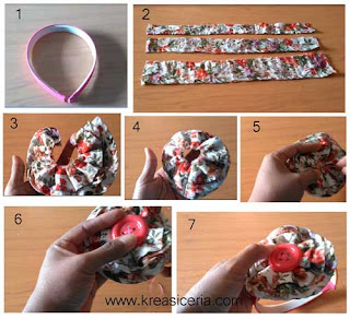 Tutorial bando cantik dari kain perca dress/ rok part 2