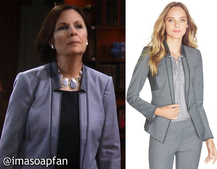 Tracy Quartermaine, Jane Elliot, General Hospital, GH, Grey Contrast Panel Blazer