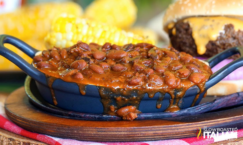 Slow Cooker Smokehouse Bacon Beans #slowcooker #crockpot #beans #barbecue