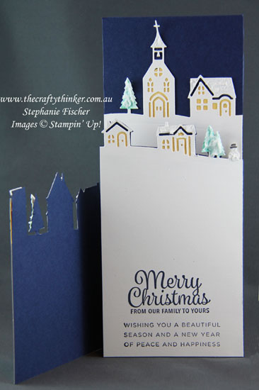 Xmas card, #rubberstamps, #stamping, #stampinup, Holiday Catalogue sneak peek, Hometown Greetings, Trifold, Christmas, #thecraftythinker, Stampin' Up Australia Demonstrator, Stephanie Fischer, Sydney NSW