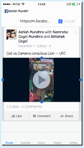 download my video from facebook to iphone