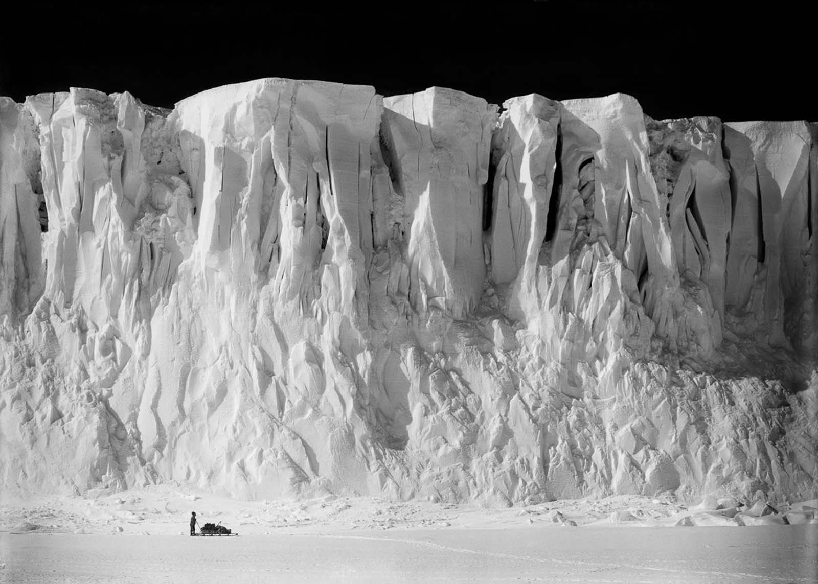 Anton Omelchenko stands at the end of the Barne Glacier on Ross Island. December 2, 1911.