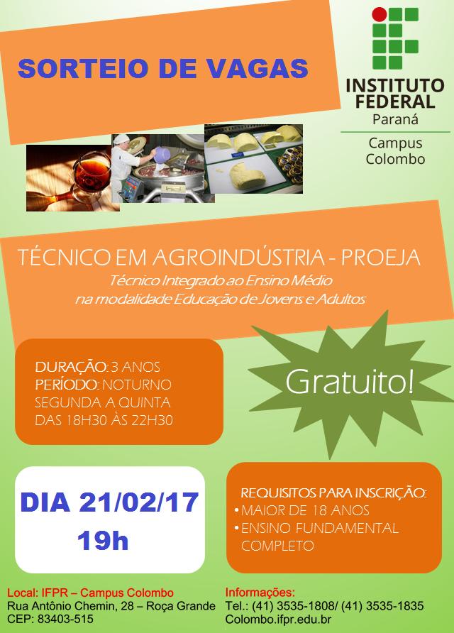 IFPR oferta vagas para o curso Técnico em Agroindústria