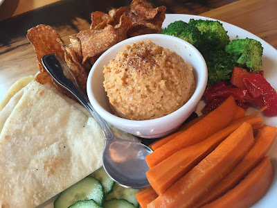 10 Barrel Brewing has an incredible hummus platter full of fresh vegetables, hummus and pita.