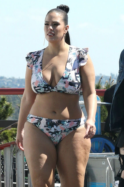Ashley Graham in a Floral Bikini