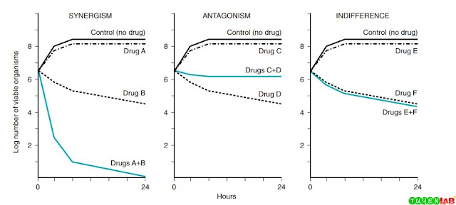 Effects of antimicrobial combinations as measured with the killing-curve method